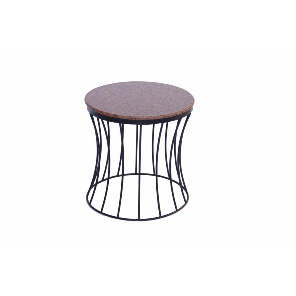 Benzara Stylish Brown Marble Top Iron Base Side Table Image