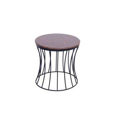 Stylish Brown Marble Top with Iron Base Side Table