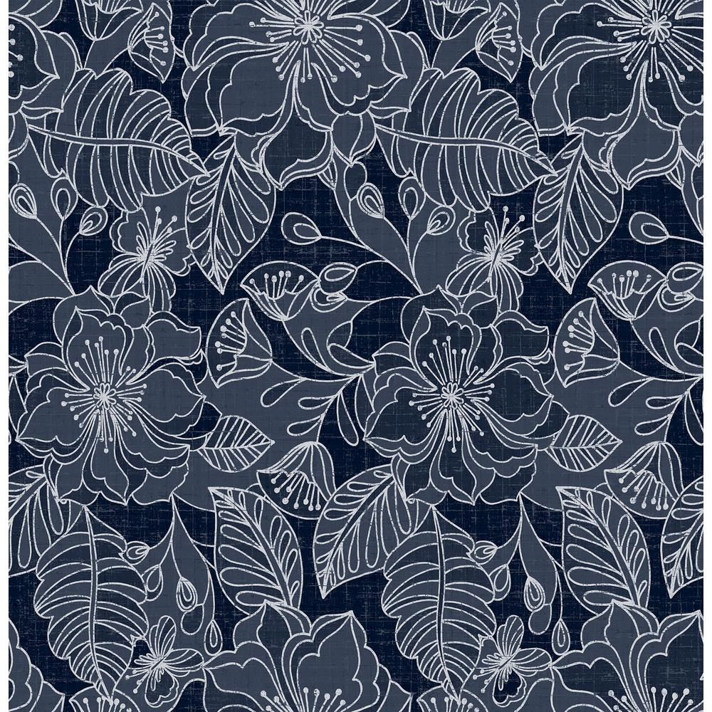 Norwall Wallcoverings Floral Damask Navy And Metallic Silver