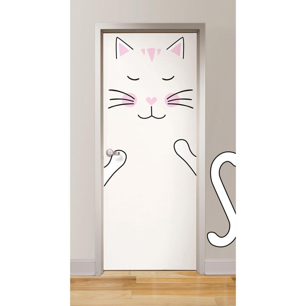 Merveilleux WallPOPs Pink Lily The Cat Door Decal