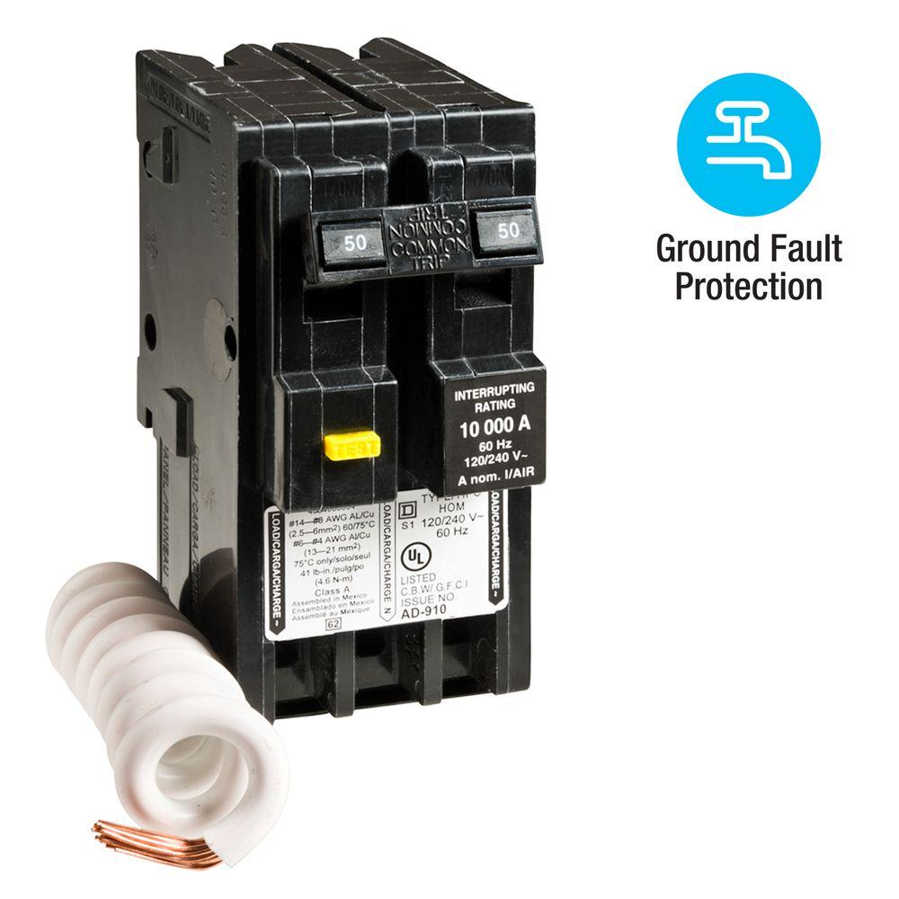 Square D Homeline 50 Amp 2-Pole GFCI Circuit Breaker-HOM250GFICP - The Home  DepotThe Home Depot