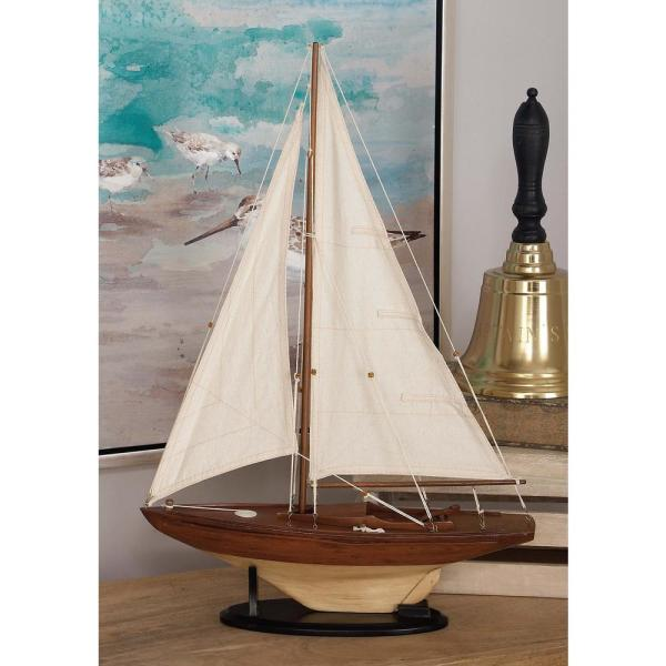 Litton Lane 16 in. x 25 in. Rustic Wooden Sailing Ship