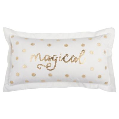 Christmas Magical White and Gold Geometric Polyester 26 in. x 26 in. Throw Pillow