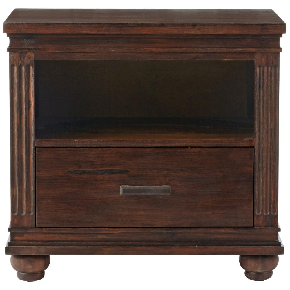 Cambridge 1-Drawer Rustic Brown Nightstand