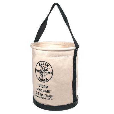 Canvas Bucket, Wide Straight-Wall with Pocket, Molded Bottom, 12-Inch