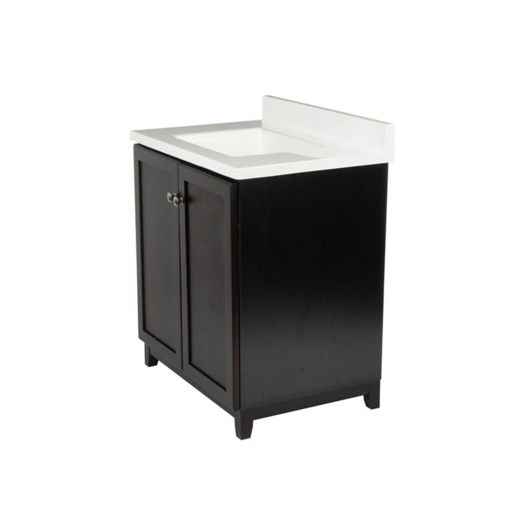 Design House 30 In X 21 33 Shorewood 2 Door Vanity Cabinet With Solid White Cultured Marble Top Basin 612770