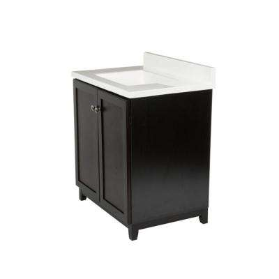 30 in. x 21 in. x 33 in. Shorewood 2-Door Vanity Cabinet with Solid White Cultured Marble Vanity Top with White Basin