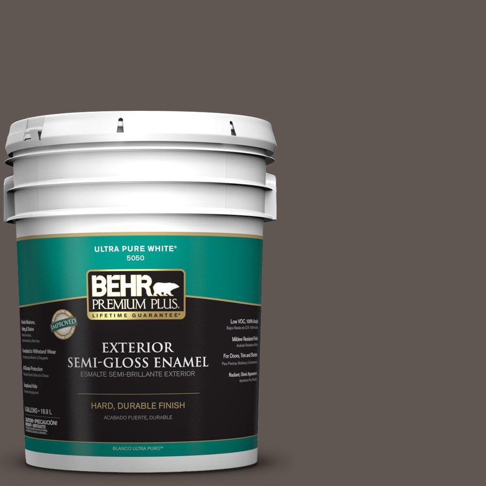 BEHR Premium Plus 5-gal. #N140-7 Timber Brown Semi-Gloss Enamel Exterior Paint