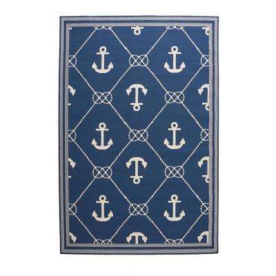 Anchor Blue/Cream 7 ft. 7 in. x 10 ft. 10 in. Indoor/Outdoor Area Rug