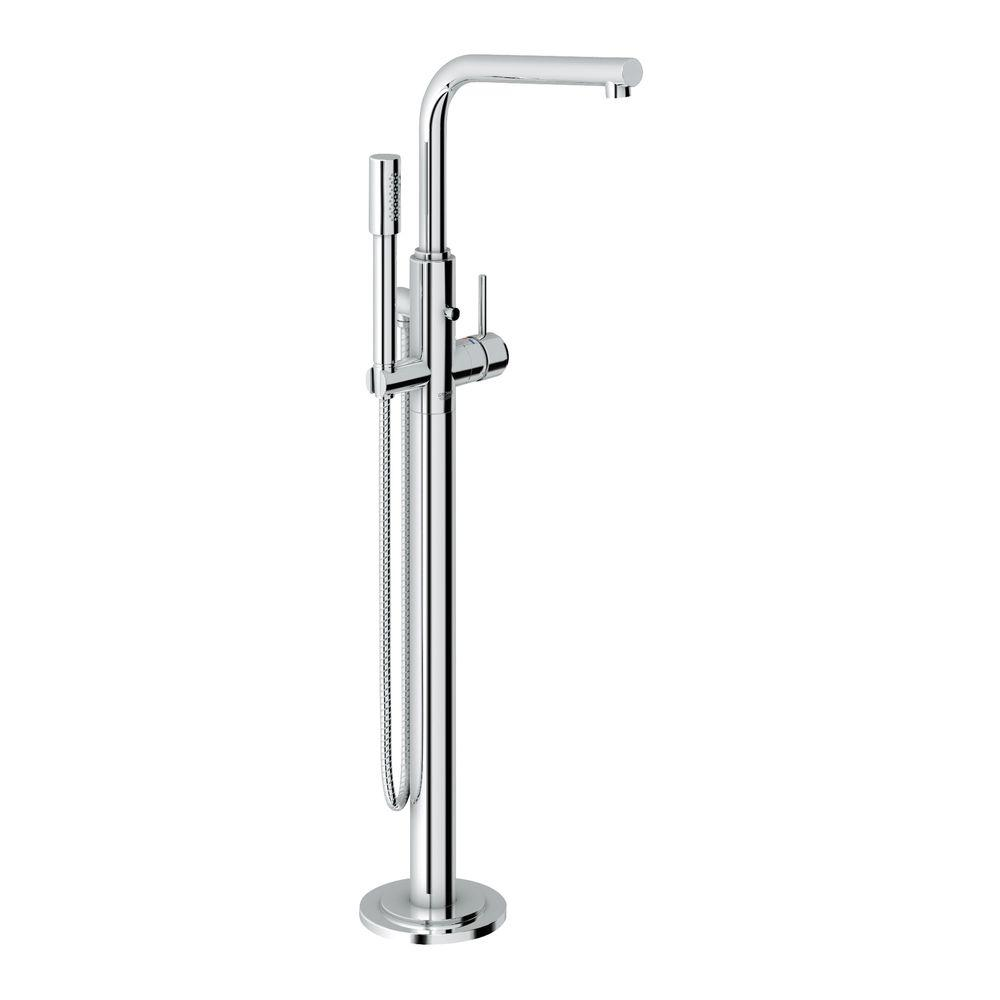 Atrio Single-Handle Floor-Mount Roman Tub Faucet with Hand Shower in StarLight