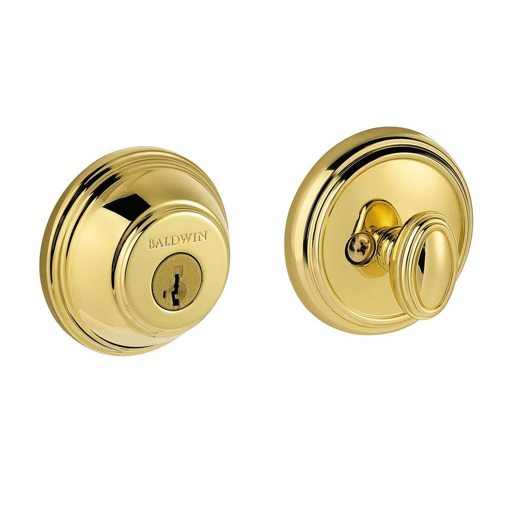 Prestige Single Cylinder Polished Brass Round Deadbolt