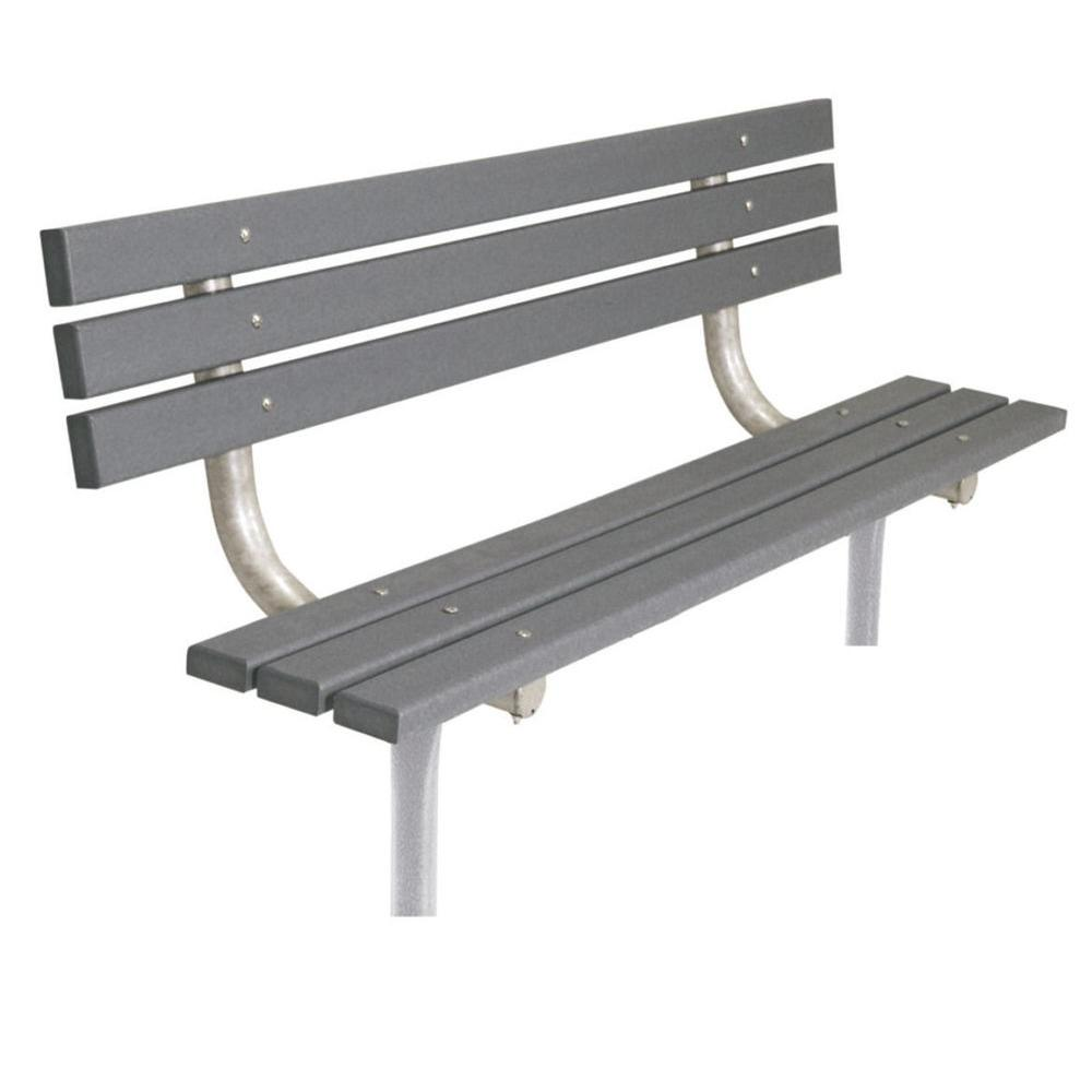 Ultra Play 6 ft. Gray Commercial Park In-Ground Recycled Plastic Bench with Back
