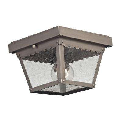 Springfield 2-Light Dark Pewter Outdoor Flushmount
