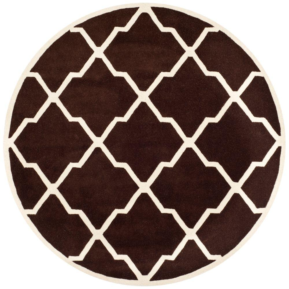 Chatham Dark Brown/Ivory 7 ft. x 7 ft. Round Area Rug