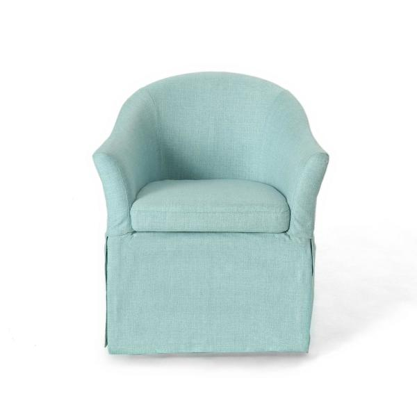 Noble House Balsam Traditional Light Blue Fabric Accent Chair with Skirt