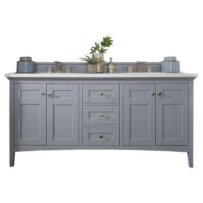Palisades 72 in. W Double Vanity in Silver Gray with Quartz Vanity Top in Snow White with White Basin