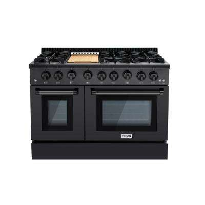 48 in. 6.7 cu. ft. Professional Gas Range in Black Stainless Steel with Double Oven
