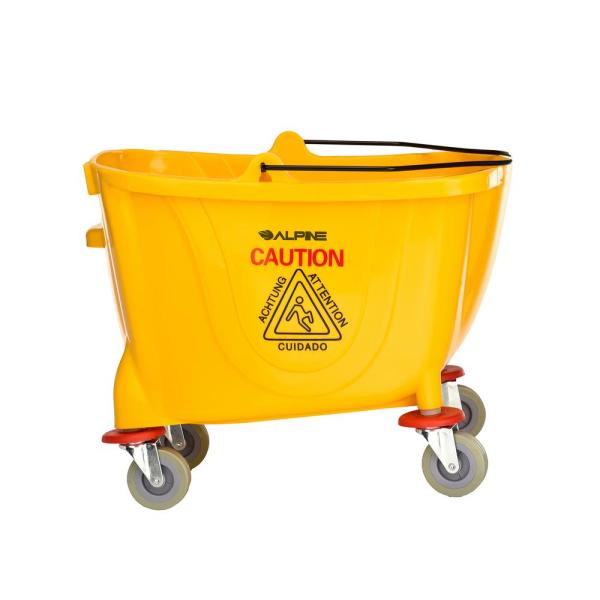 Alpine Industries 36 Qt Yellow Pvc Mop Bucket With Side Wringer 462 The Home Depot