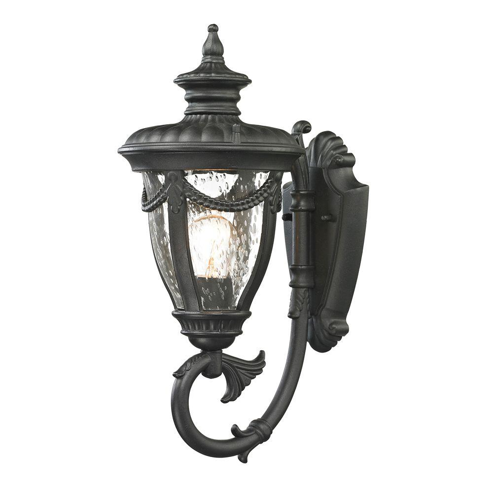 An Lighting Langley Collection Textured Matte Black Outdoor Sconce