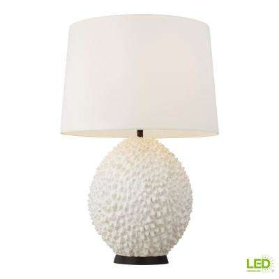 ED Ellen DeGeneres Crafted by Generation Lighting Anhdao 30.375 in. White Table Lamp and Linen Shade with Aged Iron Base