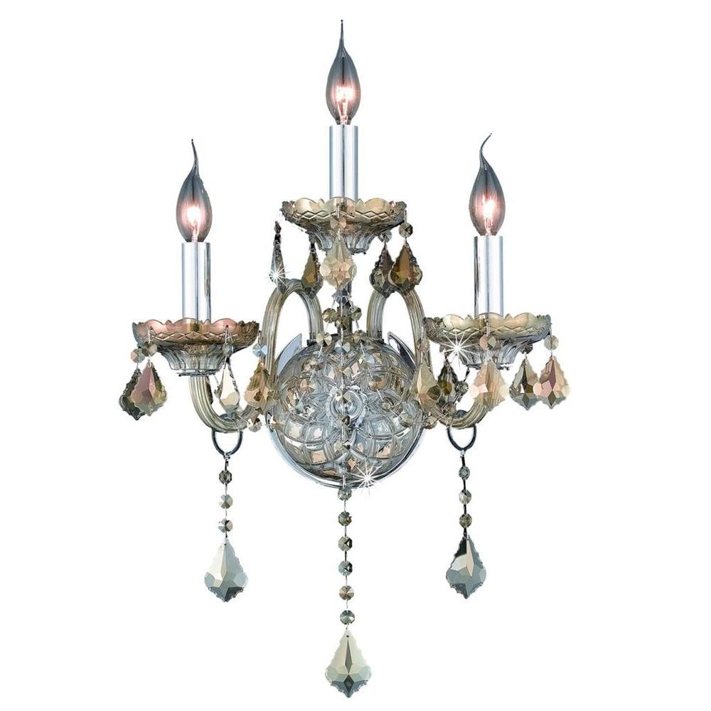 Elegant Lighting 3-Light Golden Teak Sconce with Golden Teak Smoky Crystal