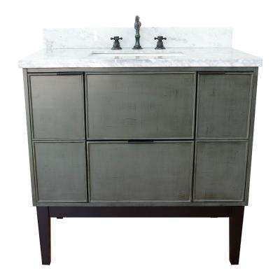 Scandi II 37 in. W x 22 in. D Bath Vanity in Gray with Marble Vanity Top in White with White Rectangle Basin
