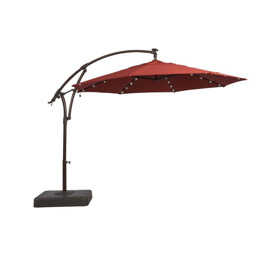 Led Round Offset Outdoor Patio Umbrella