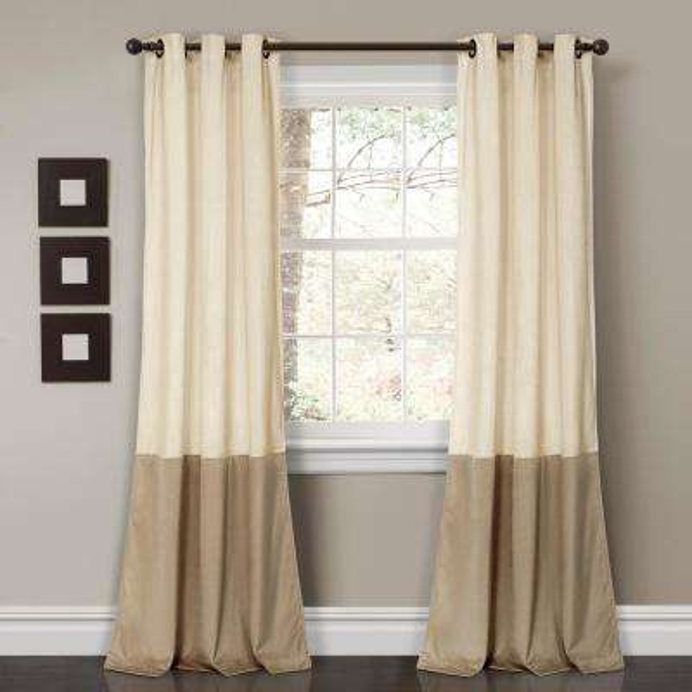 "Prima Velvet Color Block Window Panels Ivory 84"" x 38"" 2-Pc Set 100% Polyester"