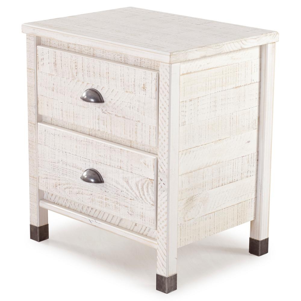 Baja 2-Drawer Shabby White Nightstand