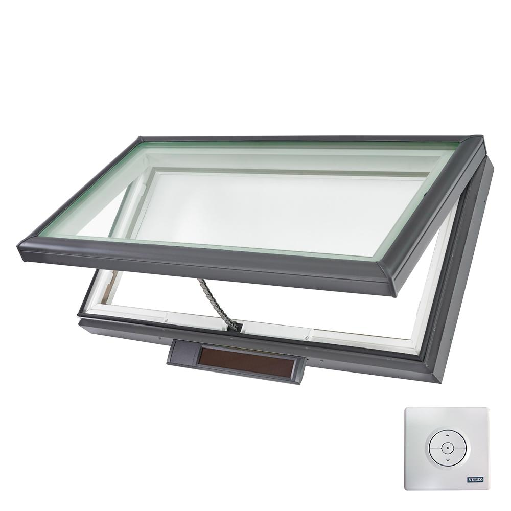 Velux 46 1 2 in x 22 1 2 in solar powered fresh air for Velux solar powered blinds