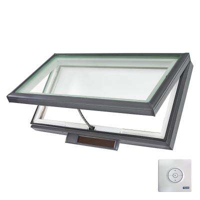 46-1/2 in. x 22-1/2 in. Solar Powered Fresh Air Venting Curb-Mount Skylight with Laminated Low-E3 Glass