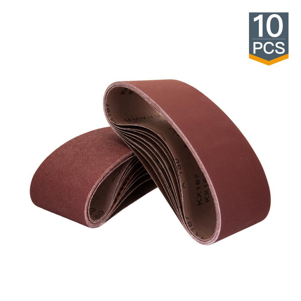 3 in. x 18 in. 80-Grit Aluminum Oxide Sanding Belt (10-Pack)