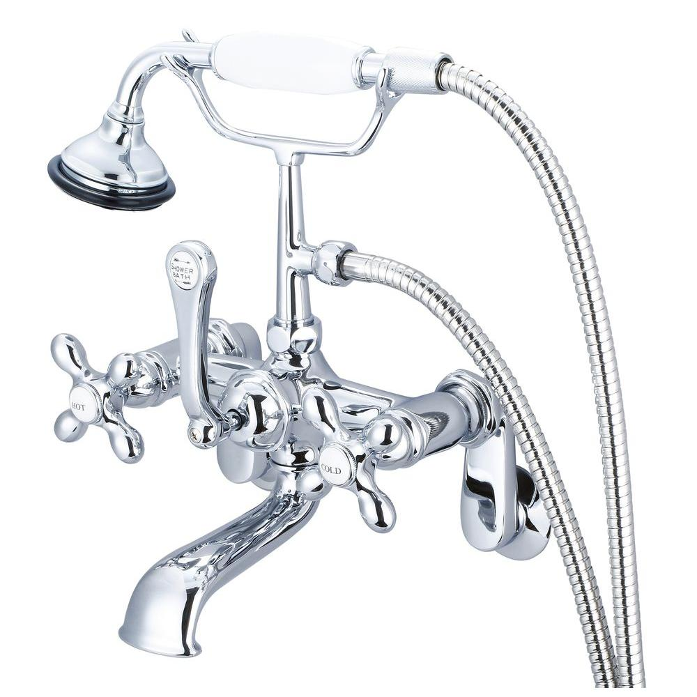 Incroyable Water Creation 3 Handle Vintage Claw Foot Tub Faucet With Handshower And  Cross Handles In