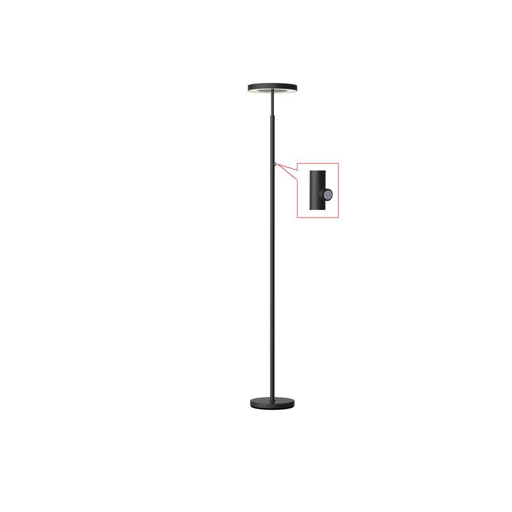 Hampton Bay 71.65 in. black LED floor lamp-AL53547BK - The ...