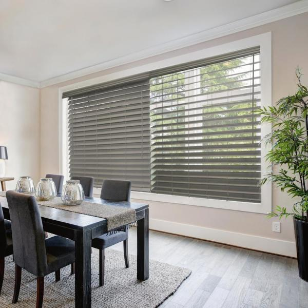Gray (Driftwood) Cordless 2-1/2 in. Premium Faux Wood Blinds - 28.5 in. W x 48 in. L (Actual Size 28 in. W x 48 in. L)