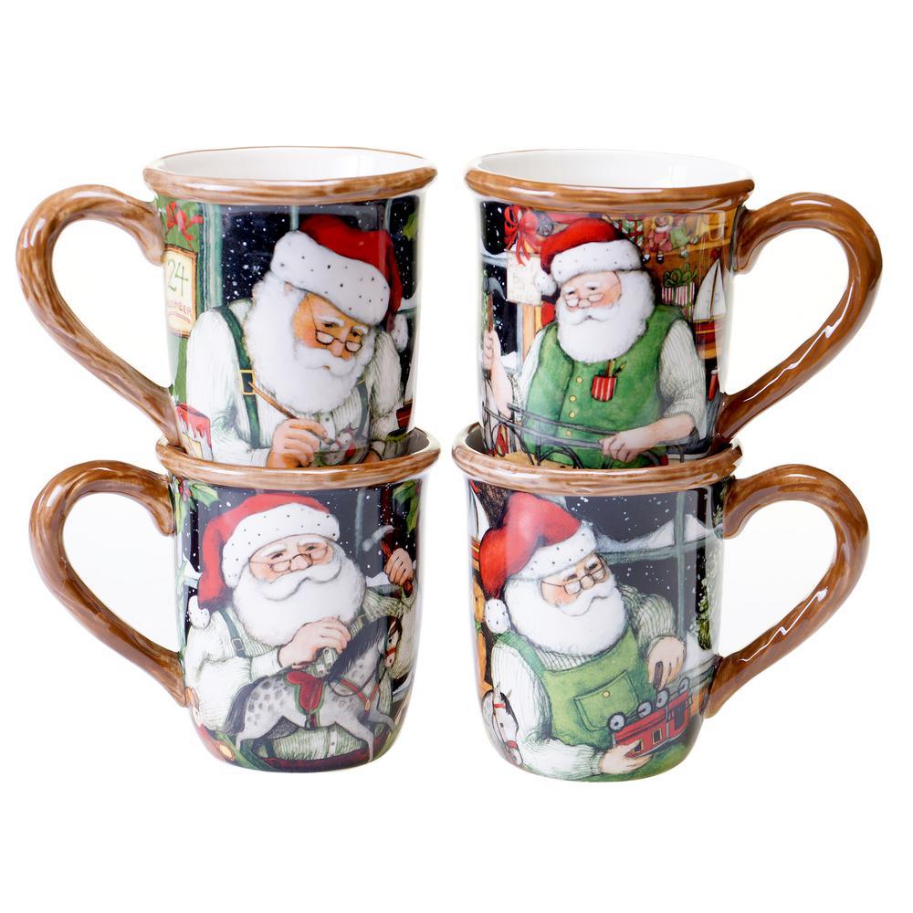 Santa's Workshop 16 oz. Red Mug (Set of 4) by
