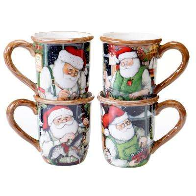 Santa's Workshop 16 oz. Red Mug (Set of 4)