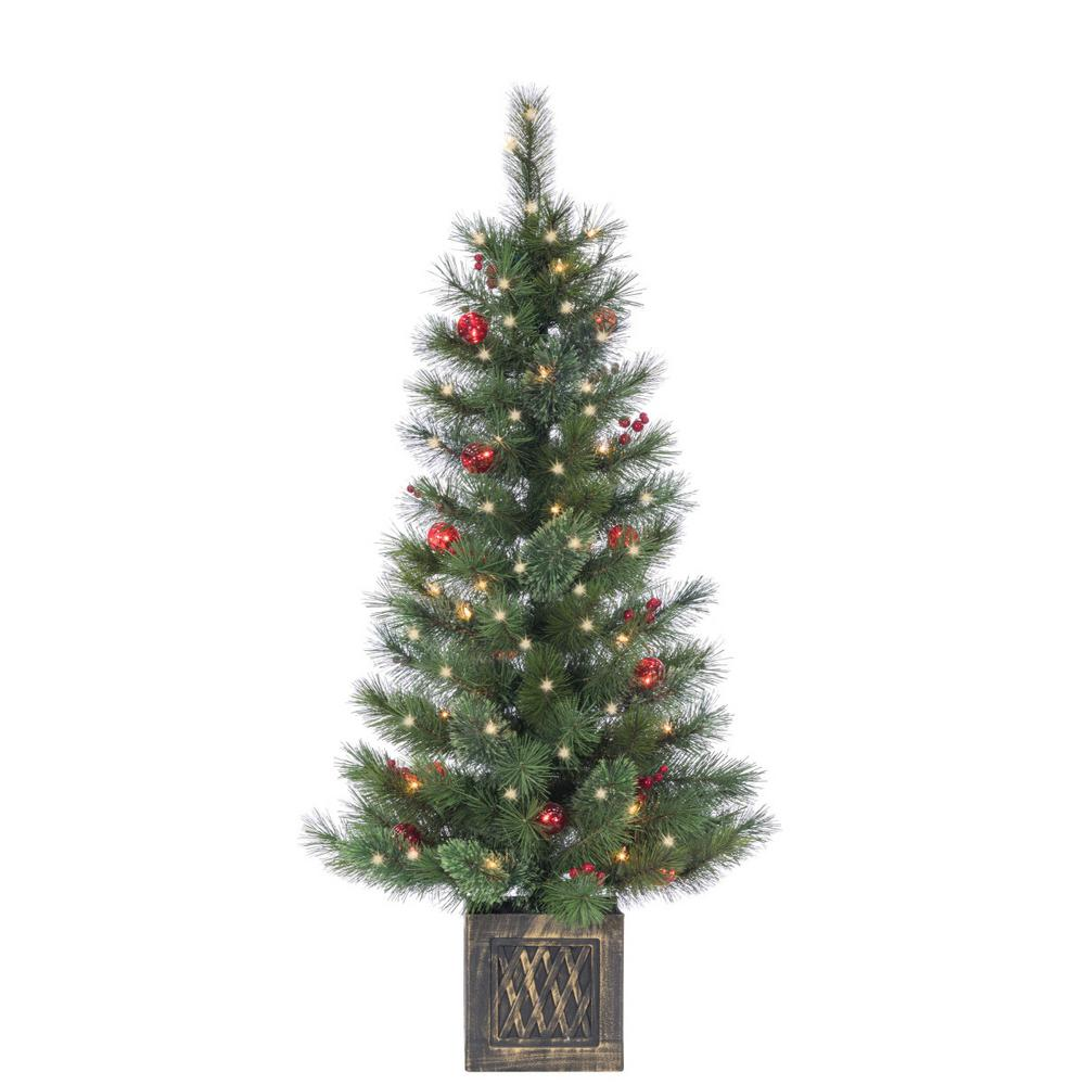 Potted Christmas Tree.Sterling 4 Ft Potted Hard Needle Cashmere Artificial Christmas Tree With 50 Clear And Red Lights