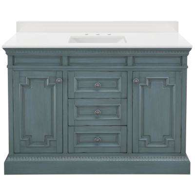 Cailla 49 in. W Vanity in Distressed Blue Fog with Engineered Marble Vanity Top in Winter White with White Sink