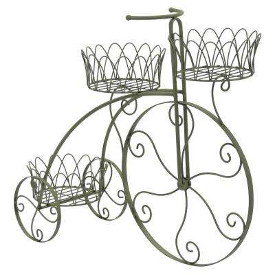 32 in. L x 11 in. W x 27 in. H Green Metal Bicycle Planter Stand