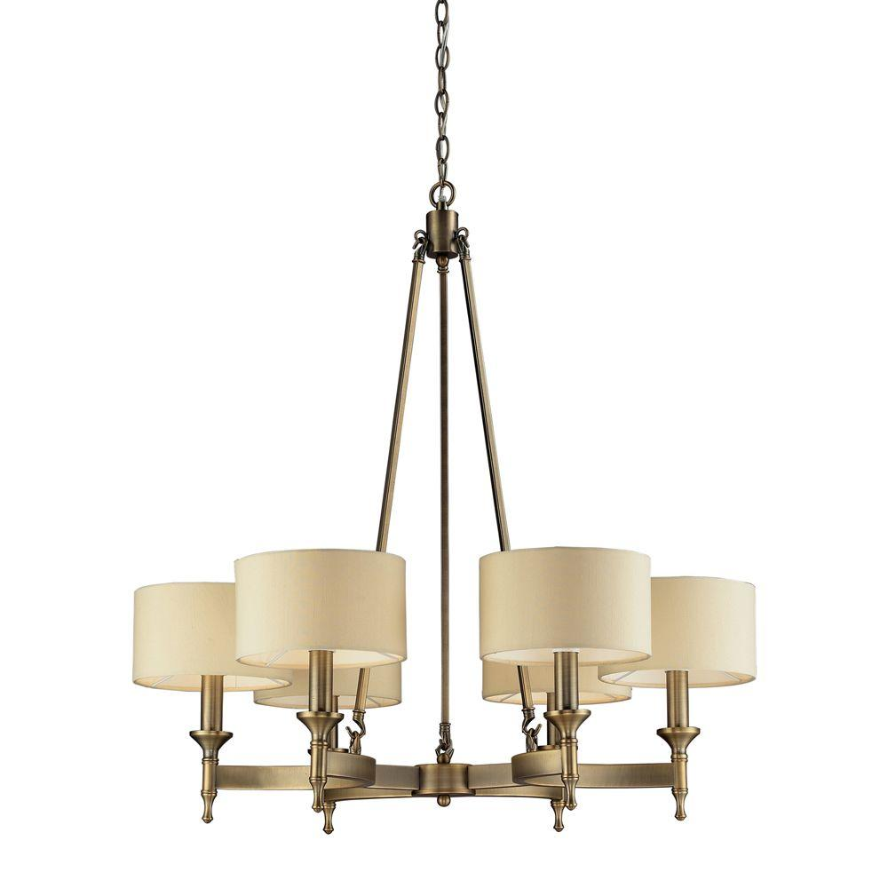 Titan lighting pembroke 6 light antique brass chandelier with titan lighting pembroke 6 light antique brass chandelier with light tan fabric shades arubaitofo Choice Image