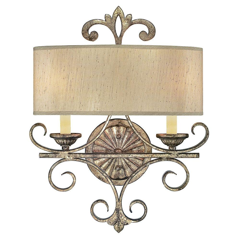 Illumine 2-Light Oxidized Silver Sconce with Cream Shantung Shades