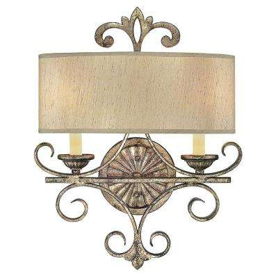 2-Light Oxidized Silver Sconce with Cream Shantung Shades