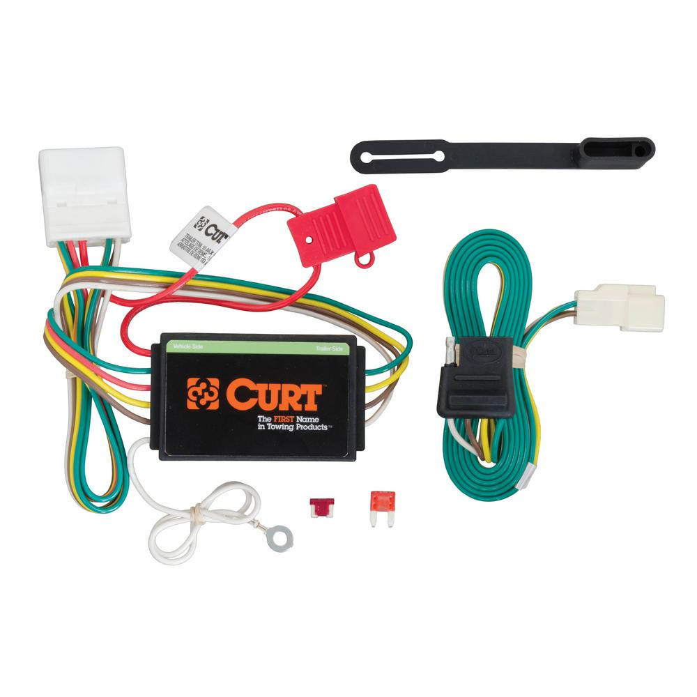 CURT Custom Vehicle-Trailer Wiring Harness, 4-Flat, Select Toyota Highlander,  OEM Tow Package Required, Quick T-Connector-56217 - The Home Depot | 2014 Toyota Highlander Trailer Wiring Harness |  | The Home Depot