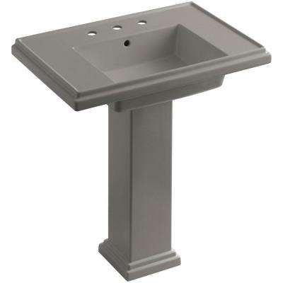 Tresham Ceramic Pedestal Combo Bathroom Sink with 8 in. Centers in Cashmere with Overflow Drain