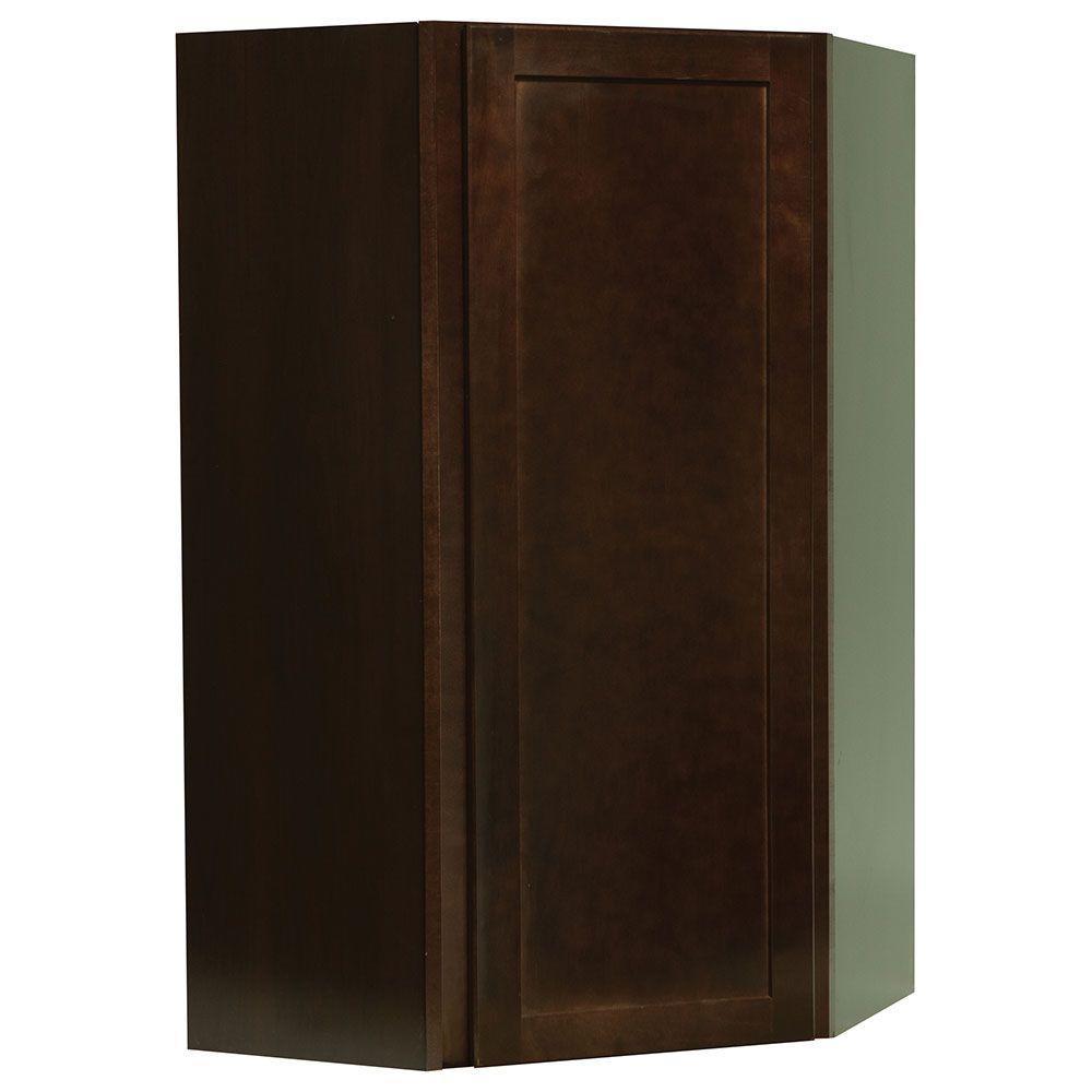 Hampton Bay Shaker Assembled 24x42x12 in. Diagonal Corner Wall Kitchen Cabinet in Java