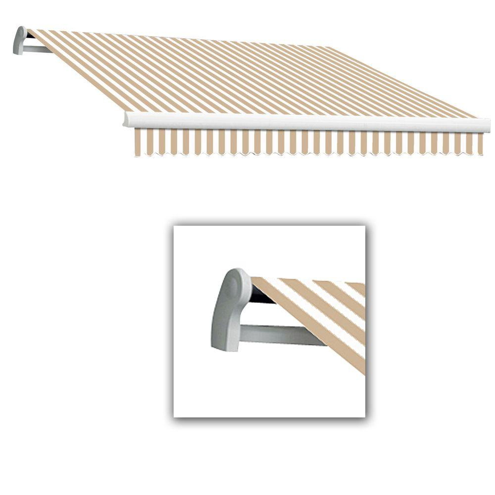AWNTECH 24 ft. LX-Maui Left Motor with Remote Retractable Acrylic Awning (120 in. Projection) in Linen/White