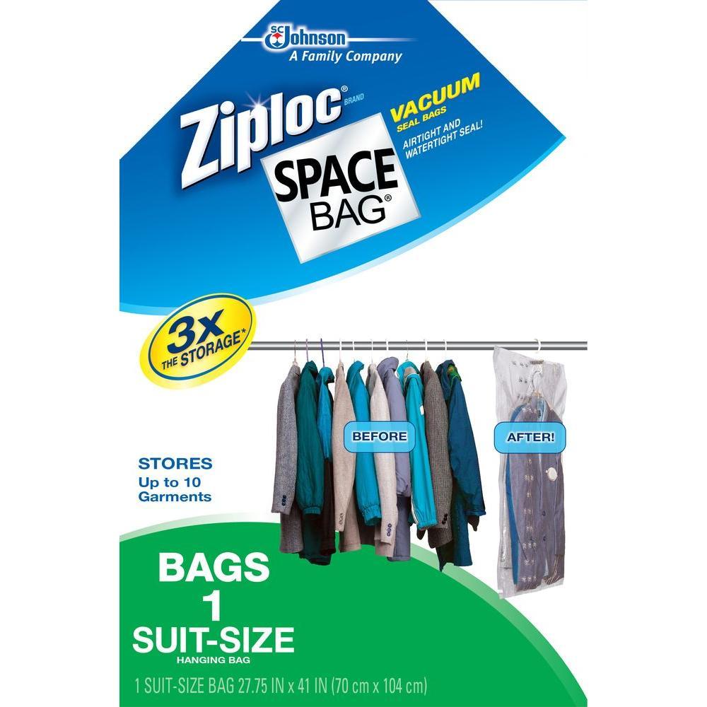 Ziploc 27.75 in. x 41 in. Hanging-Suit Space Bag (4-Pack)