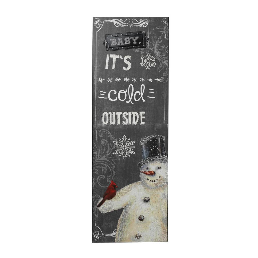 Christmas Wall Hanging Decorations.Gerson 48 In H Chalkboard Style Baby It S Cold Outside Wooden Wall Hanging