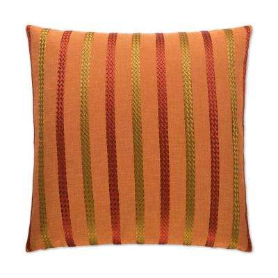 Cheverny Flame Feather Down 24 in. x 24 in. Standard Decorative Throw Pillow